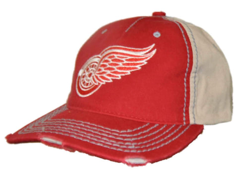 Shop Detroit Red Wings Retro Brand Red Beige Vintage Stitched Snapback Hat Cap