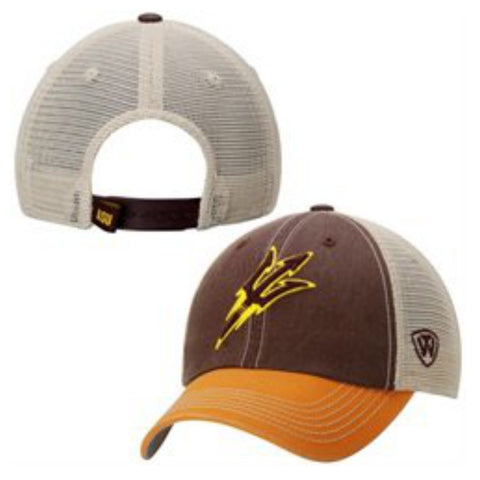 Shop Arizona State Sun Devils Top of the World Maroon Yellow Offroad Snapback Hat Cap