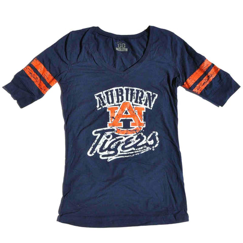 Shop Auburn Tigers Glitter Gear Women Navy Pep Rally 1/2 Sleeve Long V-Neck T-Shirt