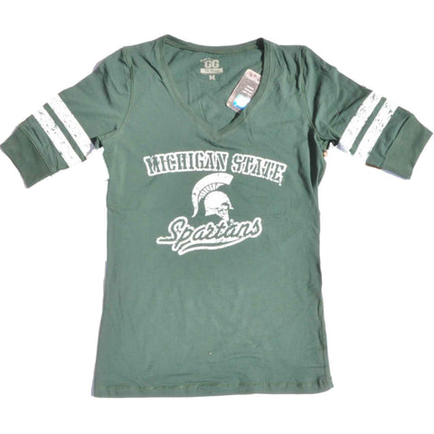Shop Michigan State Spartans Glitter Gear Women Green 1/2 Sleeve Long V-Neck T-Shirt