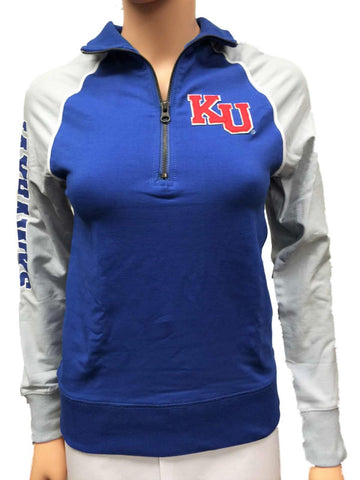 Shop Kansas Jayhawks Glitter Gear Women Blue Gray Fitted 1/4 Zip Pullover Jacket