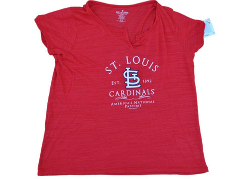 St. Louis Cardinals SAAG Women Plus Red Lightweight Tri-Blend Light T-Shirt