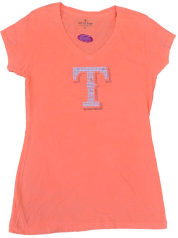 "Shop Texas Rangers SAAG Women Neon Orange Sequin ""T"" Soft Cotton V-Neck T-Shirt"