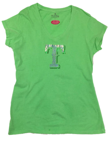 "Shop Texas Rangers SAAG Women Neon Green Sequin ""T"" Soft Cotton V-Neck T-Shirt - Sporting Up"