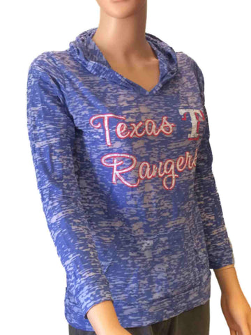 Shop Texas Rangers SAAG Women Blue Burnout Light Long Sleeve Hooded T-Shirt