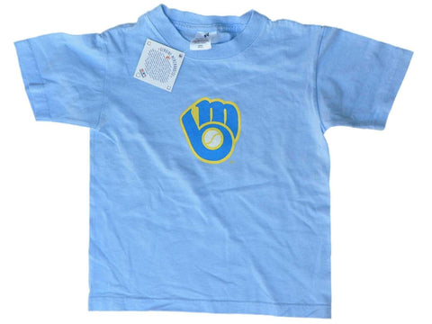 Shop Milwaukee Brewers SAAG Youth Boys Sky Blue Glove Logo Short Sleeve T-Shirt