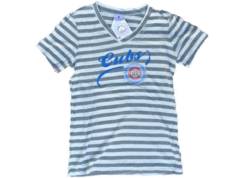 Shop Chicago Cubs SAAG Women Gray Striped Soft Triblend V-Neck T-Shirt