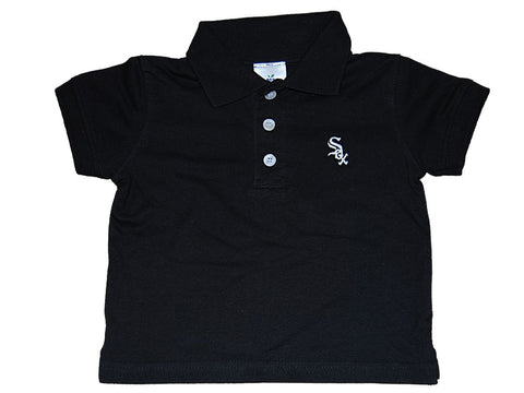 Chicago White Sox SAAG Toddler Black 1/3 Button Up Short Sleeve Polo