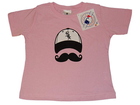 Chicago White Sox SAAG Toddler Girls Pink Mustache Short Sleeve T-Shirt - Sporting Up