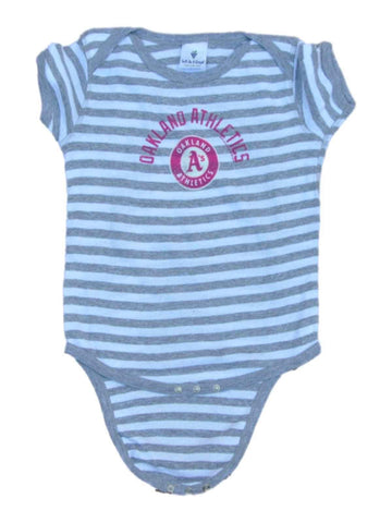 Oakland Athletics A's SAAG Infant Baby Pink Gray Striped One Piece Outfit