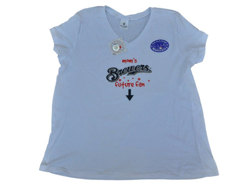 Shop Milwaukee Brewers SAAG Women Maternity White Soft Cotton V-Neck T-Shirt - Sporting Up