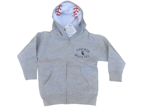 Shop Chicago White Sox SAAG Toddler Light Gray BW Logo Zip Up Hoodie Jacket - Sporting Up