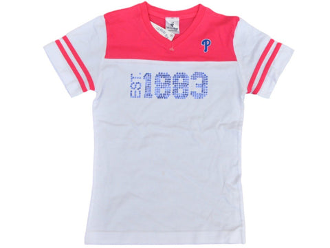 Shop Philadelphia Phillies SAAG Youth Girls White Pink Cotton V-Neck T-Shirt