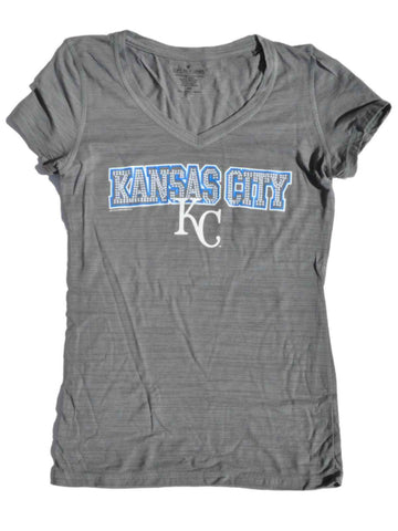 Shop Kansas City Royals SAAG Women Gray Sequin Tri-Blend V-Neck T-Shirt