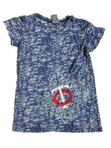 Minnesota Twins SAAG Women Blue Burnout Lightweight Short Sleeve T-Shirt