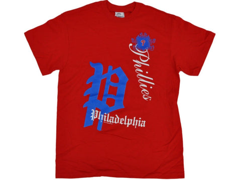 Shop Philadelphia Phillies SAAG Women Red Old English Logo Loose Fit T-Shirt