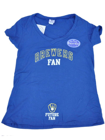 "Shop Milwaukee Brewers SAAG Women Maternity Blue ""Future Fan"" V-Neck T-Shirt"