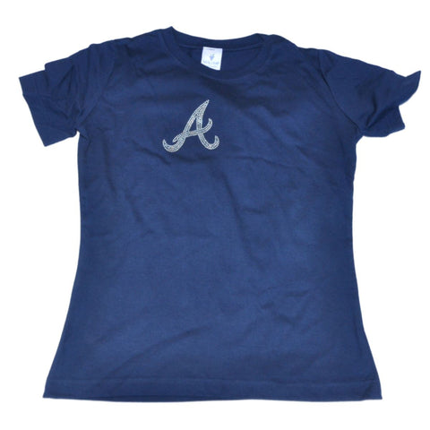 Shop Atlanta Braves SAAG Women Navy Rhinestone Logo Crew Neck T-Shirt - Sporting Up