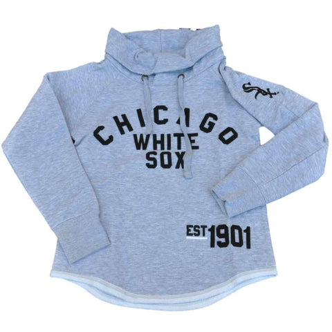 Shop Chicago White Sox SAAG Women Gray Slub Neck Hoodie Sweatshirt