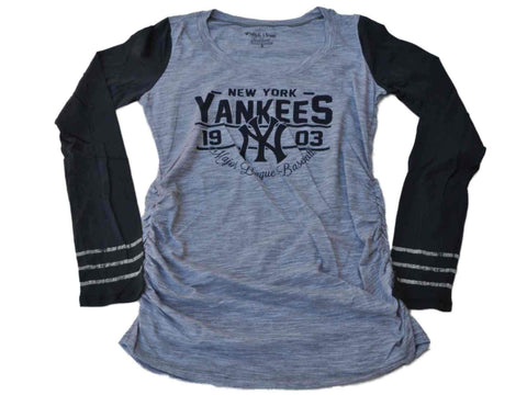 Shop New York Yankees SAAG Women Maternity Gray Navy Triblend LS T-Shirt