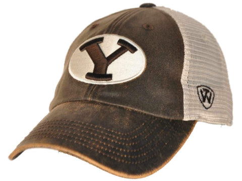 size 40 8a642 b3da7 BYU Cougars Top of the World Brown Scat Mesh Adjustable Snapback Hat Cap