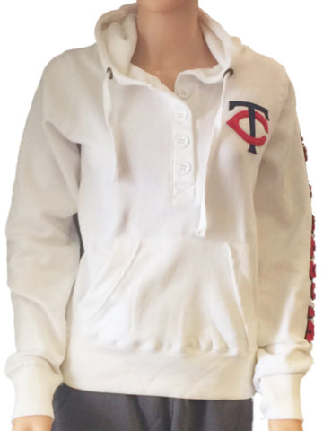Shop Minnesota Twins SAAG Women White Quarter Button Pullover Hoodie Sweatshirt - Sporting Up