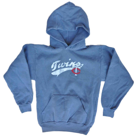 Minnesota Twins SAAG Youth Boys Blue Gray Pullover Hoodie Sweatshirt