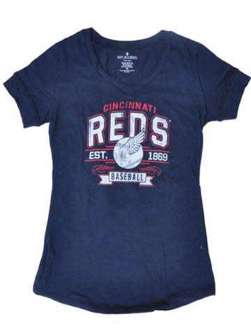 Cincinnati Reds SAAG Women Navy Baseball Wings Cotton V-Neck T-Shirt