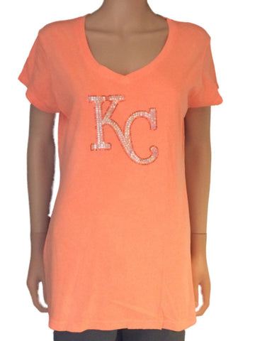 Kansas City Royals SAAG Women Neon Orange Sequin Cotton V-Neck T-Shirt