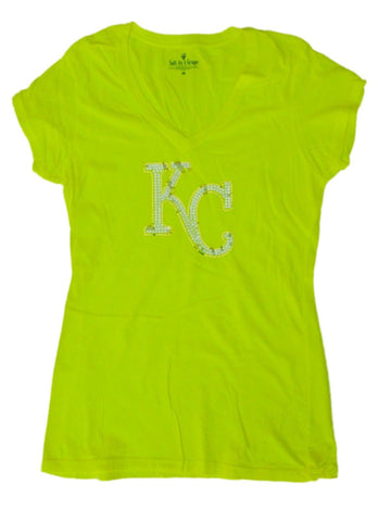 Kansas City Royals SAAG Women Neon Yellow Sequin Cotton V-Neck T-Shirt - Sporting Up