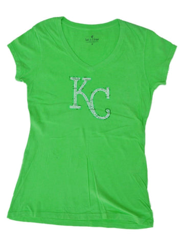 Kansas City Royals SAAG Women Neon Green Sequin Cotton V-Neck T-Shirt - Sporting Up