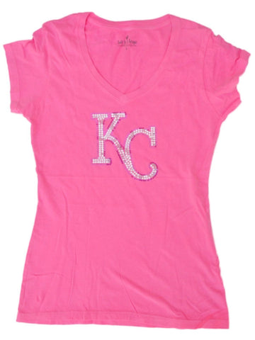 Kansas City Royals SAAG Women Neon Pink Sequin Cotton V-Neck T-Shirt