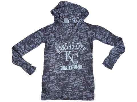 Shop Kansas City Royals SAAG Youth Girls Gray Burnout Pullover Hoodie T-Shirt