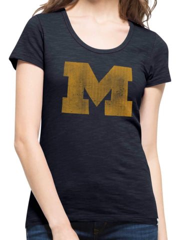 Shop Michigan Wolverines 47 Brand Women Fall Navy Scoop Neck Scrum T-Shirt - Sporting Up