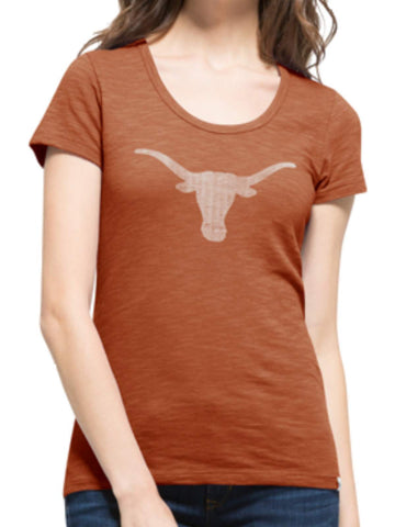 Shop Texas Longhorns 47 Brand Women Orange Scoop Neck Scrum T-Shirt