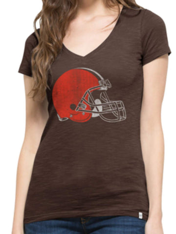 Shop Cleveland Browns 47 Brand Women Brown Soft Cotton V-Neck Scrum T-Shirt