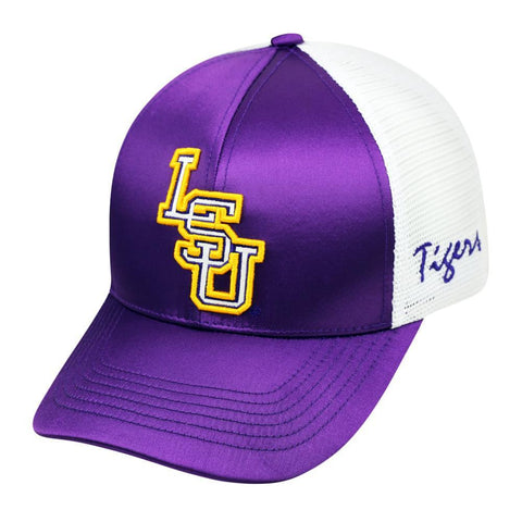 Shop LSU Tigers TOW Women Purple White Satina Mesh Adjustable Strap Hat Cap - Sporting Up