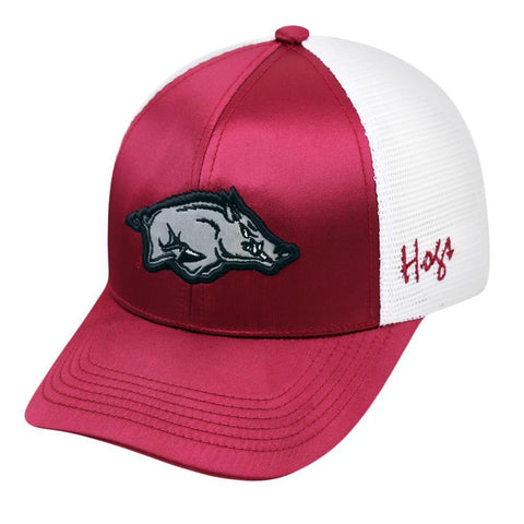 Shop Arkansas Razorbacks TOW Women Maroon White Satina Mesh Adjustable Strap Hat Cap - Sporting Up