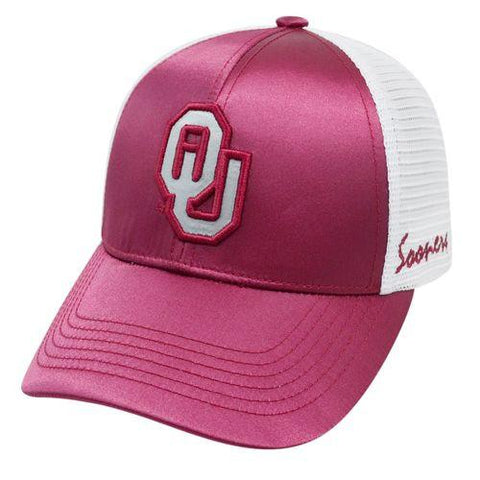 Shop Oklahoma Sooners TOW Women Dark Red White Satina Mesh Adjustable Strap Hat Cap