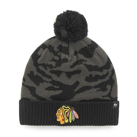 Shop Chicago Blackhawks 47 Brand Charcoal Black Twenty Nine Cuffed Beanie Hat Cap