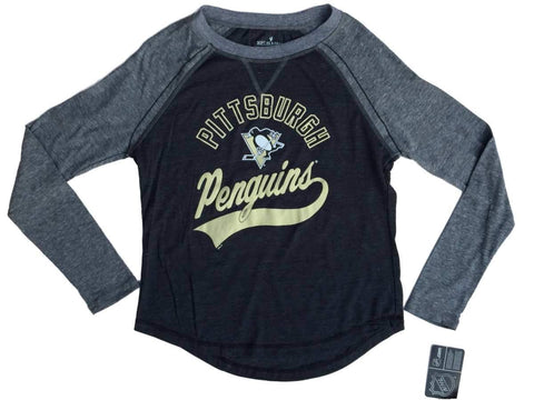 Pittsburgh Penguins SAAG Women Charcoal Gray Triblend LS Baseball T-Shirt