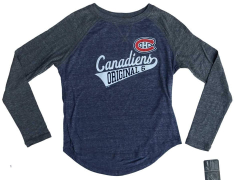 Shop Montreal Canadiens SAAG Women Navy Gray Original 6 LS Baseball T-Shirt
