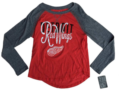 Shop Detroit Red Wings SAAG Women Red Gray Triblend LS Baseball T-Shirt - Sporting Up