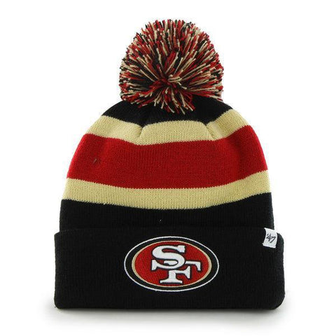 Shop San Francisco 49ers 47 Brand Black Breakaway Knit Cuffed Poofball Beanie Hat Cap