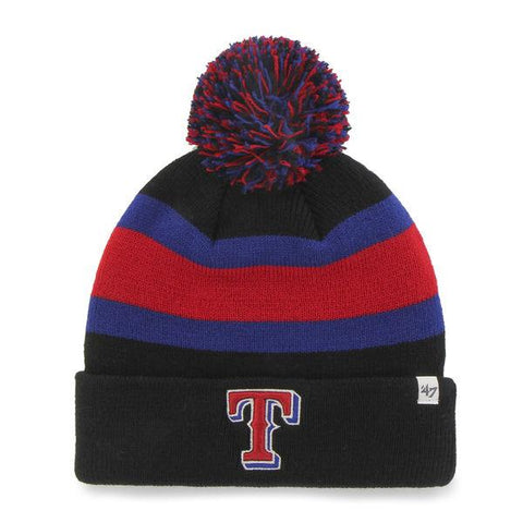 Shop Texas Rangers 47 Brand Black Breakaway Knit Cuffed Poofball Beanie Hat Cap - Sporting Up