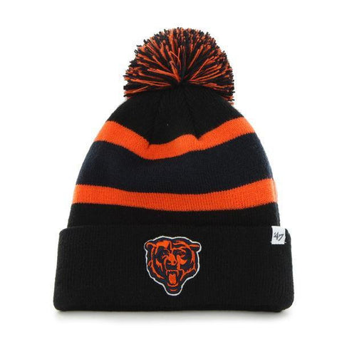 Shop Chicago Bears 47 Brand Black Breakaway Knit Cuffed Poofball Beanie Hat Cap
