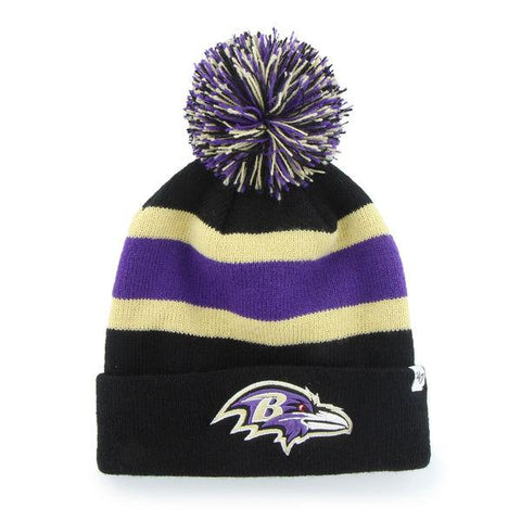 Shop Baltimore Ravens 47 Brand Black Breakaway Knit Cuffed Poofball Beanie Hat Cap