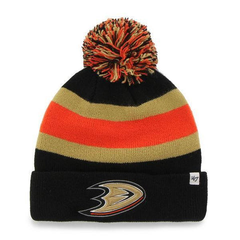Shop Anaheim Ducks 47 Brand Black Breakaway Knit Cuffed Poofball Beanie Hat Cap