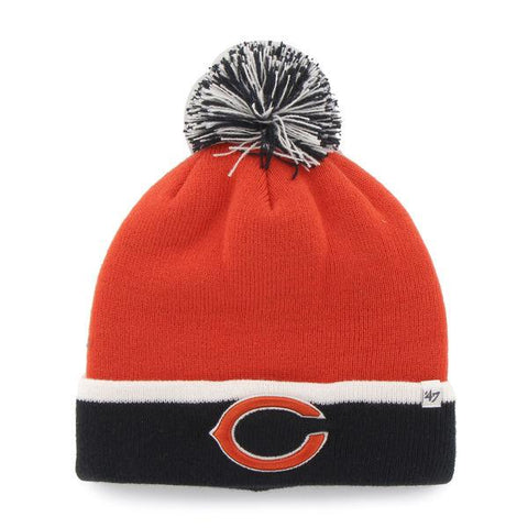 Chicago Bears 47 Brand Orange Black Baraka Knit Cuffed Poofball Beanie Hat Cap - Sporting Up