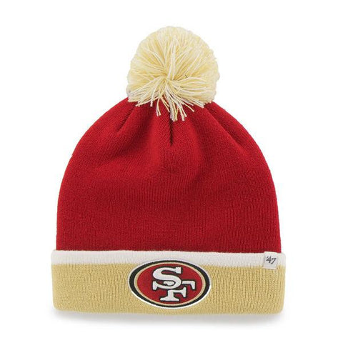 Shop San Francisco 49ers 47 Red Yellow Black Baraka Knit Cuff Poofball Beanie Hat Cap